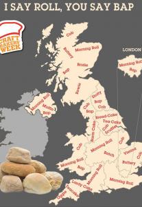 イギリスの地方によるパンの言い方の違い地図