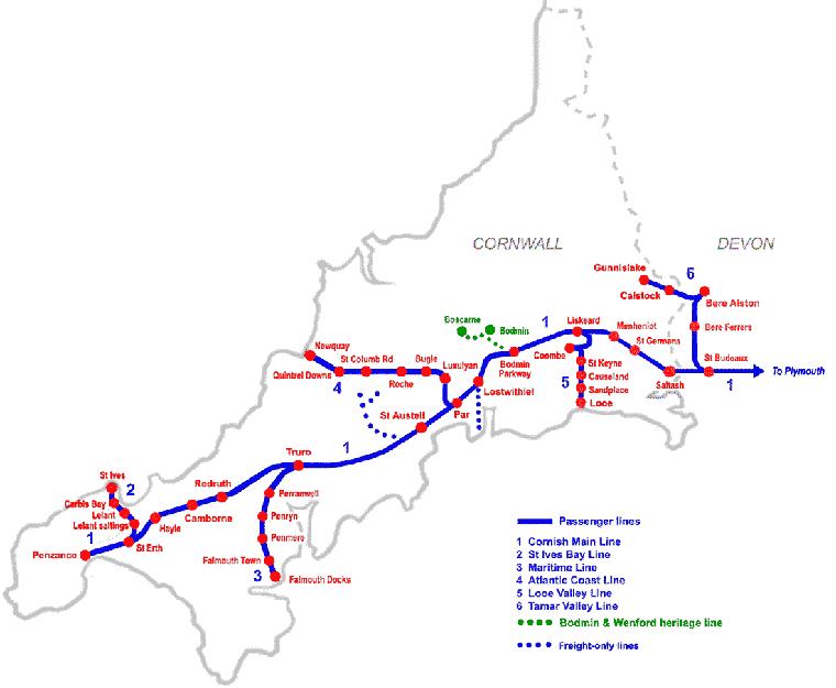 コーンウォールの鉄道マップ